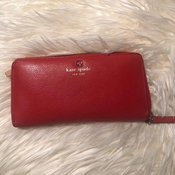 kate spade Handbags - Kate Spade Red Leather Wallet